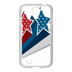 Star Red Blue White Line Space Samsung GALAXY S4 I9500/ I9505 Case (White)