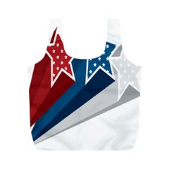 Star Red Blue White Line Space Full Print Recycle Bags (M)