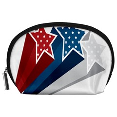 Star Red Blue White Line Space Accessory Pouches (Large)