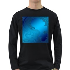 Fractals Lines Wave Pattern Long Sleeve Dark T-Shirts