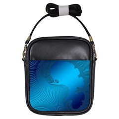 Fractals Lines Wave Pattern Girls Sling Bags