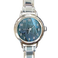 Feather Plumage Blue Parrot Round Italian Charm Watch