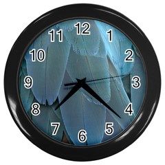 Feather Plumage Blue Parrot Wall Clocks (black)