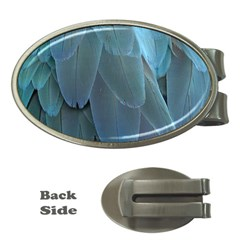 Feather Plumage Blue Parrot Money Clips (Oval)