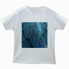 Feather Plumage Blue Parrot Kids White T-Shirts