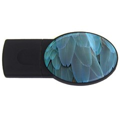 Feather Plumage Blue Parrot USB Flash Drive Oval (1 GB)