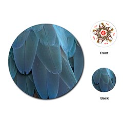 Feather Plumage Blue Parrot Playing Cards (Round)