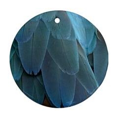 Feather Plumage Blue Parrot Round Ornament (two Sides)