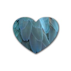Feather Plumage Blue Parrot Heart Coaster (4 pack)