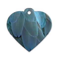 Feather Plumage Blue Parrot Dog Tag Heart (One Side)