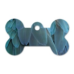 Feather Plumage Blue Parrot Dog Tag Bone (Two Sides)