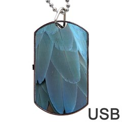 Feather Plumage Blue Parrot Dog Tag Usb Flash (two Sides)