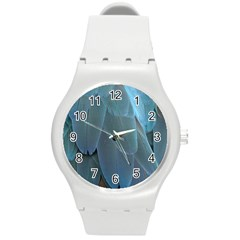 Feather Plumage Blue Parrot Round Plastic Sport Watch (m)