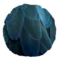 Feather Plumage Blue Parrot Large 18  Premium Round Cushions