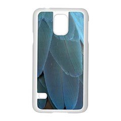 Feather Plumage Blue Parrot Samsung Galaxy S5 Case (White)