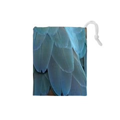 Feather Plumage Blue Parrot Drawstring Pouches (Small)