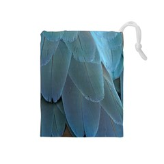 Feather Plumage Blue Parrot Drawstring Pouches (medium)
