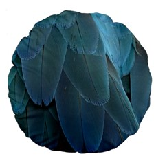 Feather Plumage Blue Parrot Large 18  Premium Flano Round Cushions
