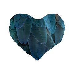 Feather Plumage Blue Parrot Standard 16  Premium Flano Heart Shape Cushions