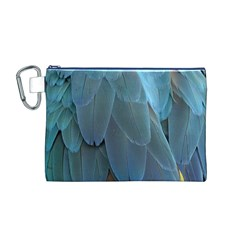 Feather Plumage Blue Parrot Canvas Cosmetic Bag (M)