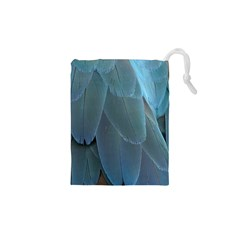 Feather Plumage Blue Parrot Drawstring Pouches (XS)