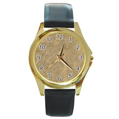 Abstract Forest Trees Age Aging Round Gold Metal Watch