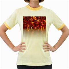 Effect Pattern Brush Red Orange Women s Fitted Ringer T-Shirts