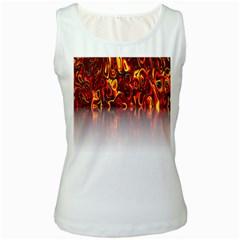 Effect Pattern Brush Red Orange Women s White Tank Top