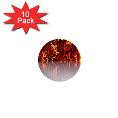 Effect Pattern Brush Red Orange 1  Mini Buttons (10 pack)