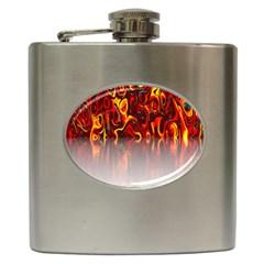 Effect Pattern Brush Red Orange Hip Flask (6 Oz)