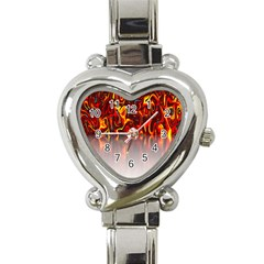 Effect Pattern Brush Red Orange Heart Italian Charm Watch