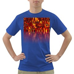 Effect Pattern Brush Red Orange Dark T Shirt