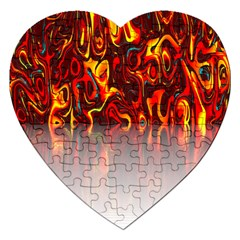 Effect Pattern Brush Red Orange Jigsaw Puzzle (Heart)
