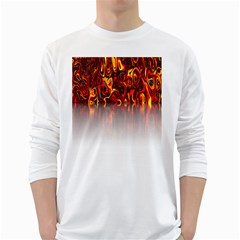 Effect Pattern Brush Red Orange White Long Sleeve T-Shirts