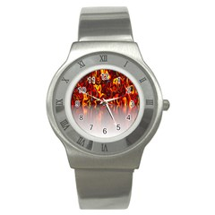 Effect Pattern Brush Red Orange Stainless Steel Watch