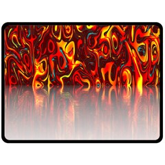 Effect Pattern Brush Red Orange Fleece Blanket (Large)
