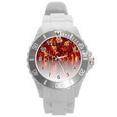 Effect Pattern Brush Red Orange Round Plastic Sport Watch (l)