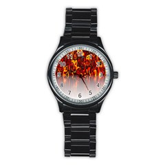 Effect Pattern Brush Red Orange Stainless Steel Round Watch