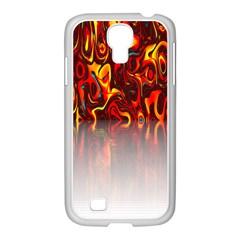 Effect Pattern Brush Red Orange Samsung Galaxy S4 I9500/ I9505 Case (white)
