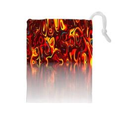 Effect Pattern Brush Red Orange Drawstring Pouches (Large)