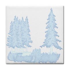 Winter Snow Trees Forest Tile Coasters