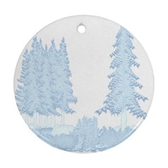 Winter Snow Trees Forest Ornament (Round)