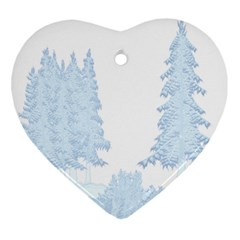 Winter Snow Trees Forest Ornament (heart)