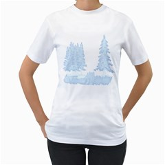Winter Snow Trees Forest Women s T-Shirt (White) (Two Sided)