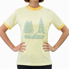 Winter Snow Trees Forest Women s Fitted Ringer T-Shirts