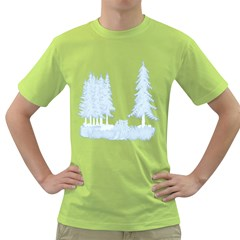 Winter Snow Trees Forest Green T-Shirt