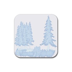 Winter Snow Trees Forest Rubber Square Coaster (4 Pack)