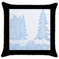 Winter Snow Trees Forest Throw Pillow Case (Black)