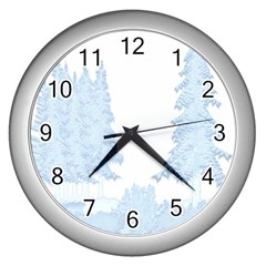 Winter Snow Trees Forest Wall Clocks (Silver)