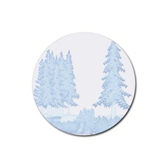 Winter Snow Trees Forest Rubber Round Coaster (4 pack)
